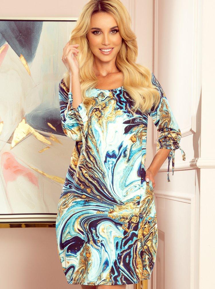 Modré vzorované šaty numoco