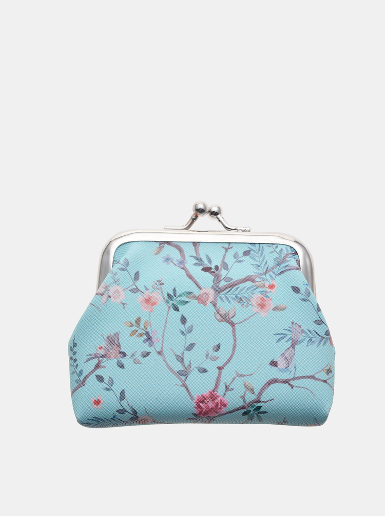 Modrá dámská květovaná malá peněženka Clayre & Eef