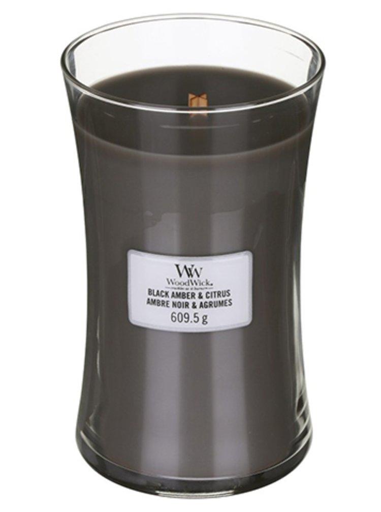 WoodWick vonná svíčka Black Amber & Citrus velká váza