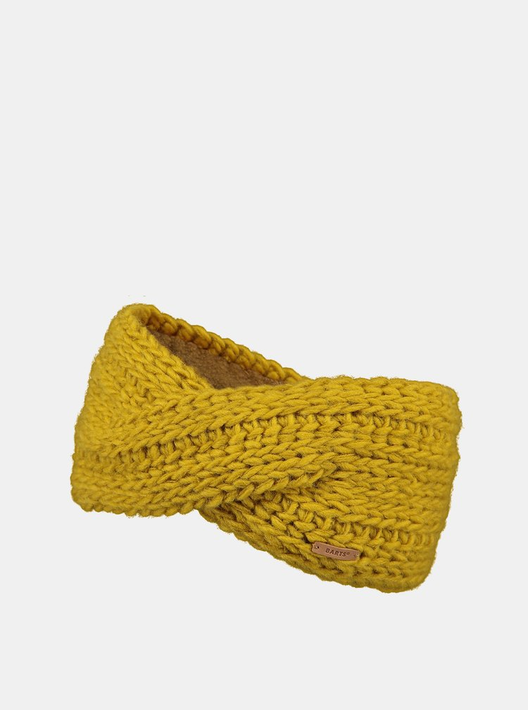 Hořčicová dámská čelenka s příměsí vlny Barts