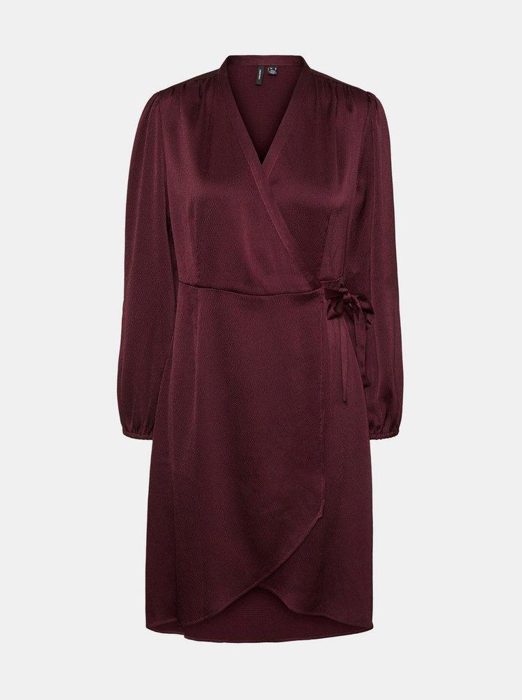 Vínové saténové zavinovací šaty VERO MODA Erin