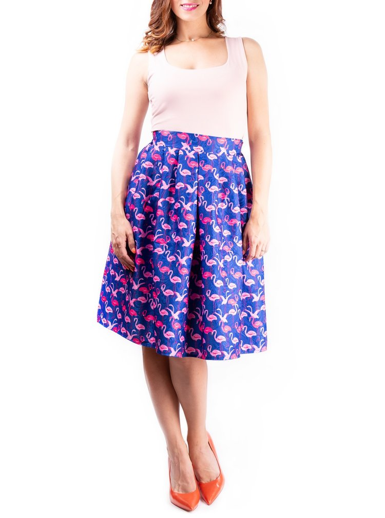 Simpo barevná sukně ke kolenům Blue Flamingo