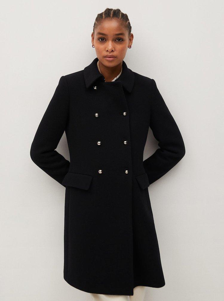 Černý kabát s příměsí vlny Mango