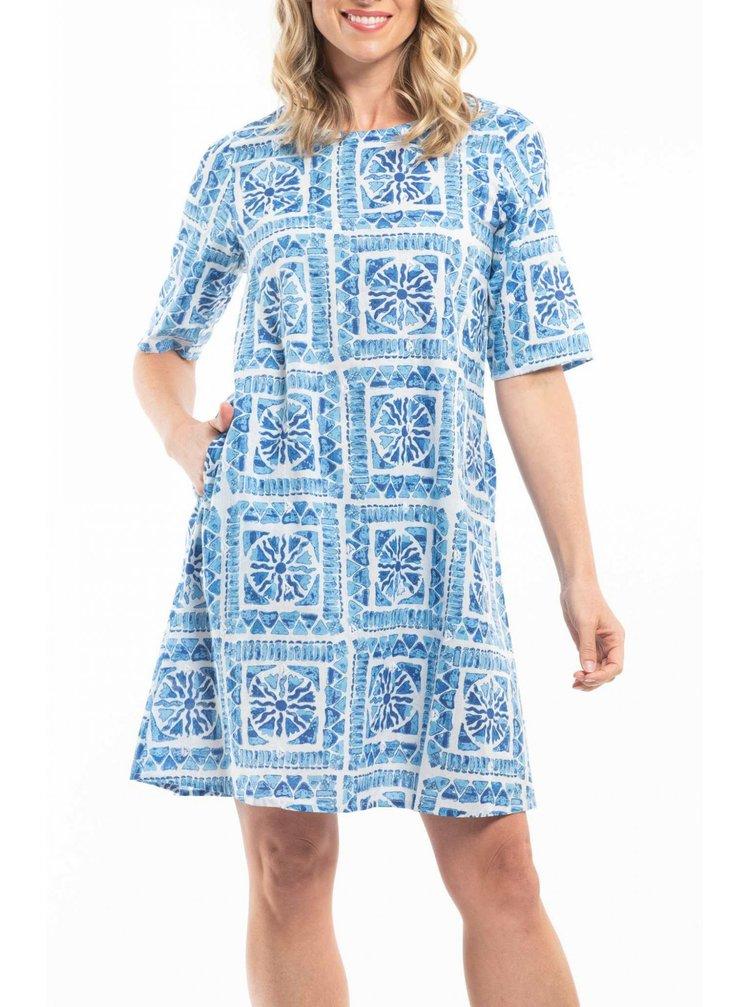 Orientique modré šaty Ithca