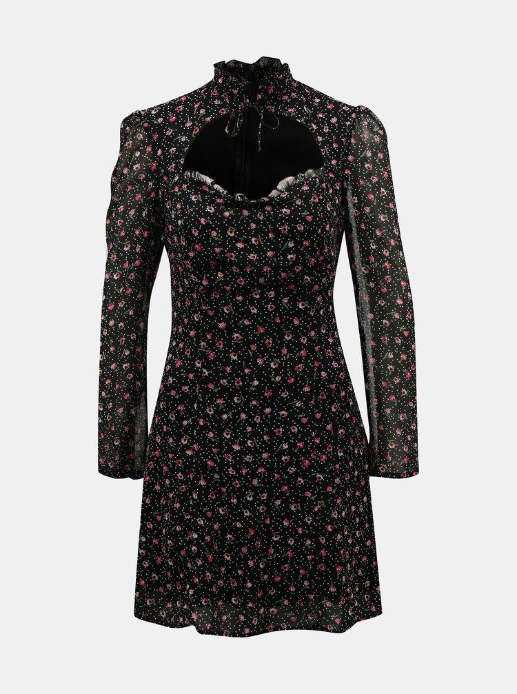 Černé květované šaty se stojáčkem TALLY WEiJL