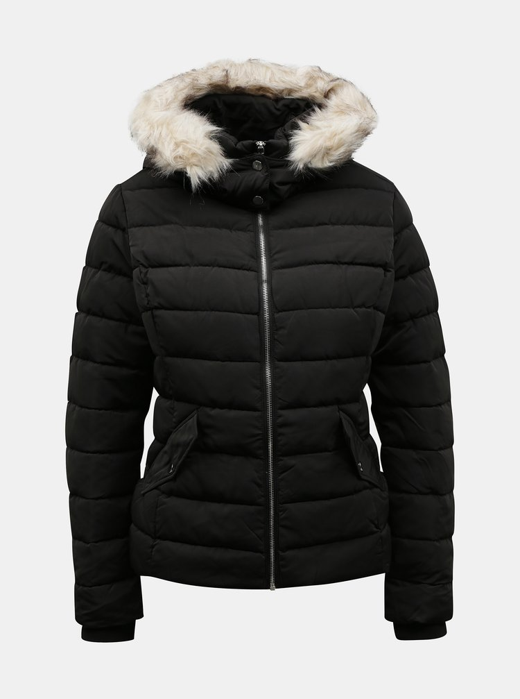 Černá zimní prošívaná bunda s umělým kožíškem TALLY WEiJL