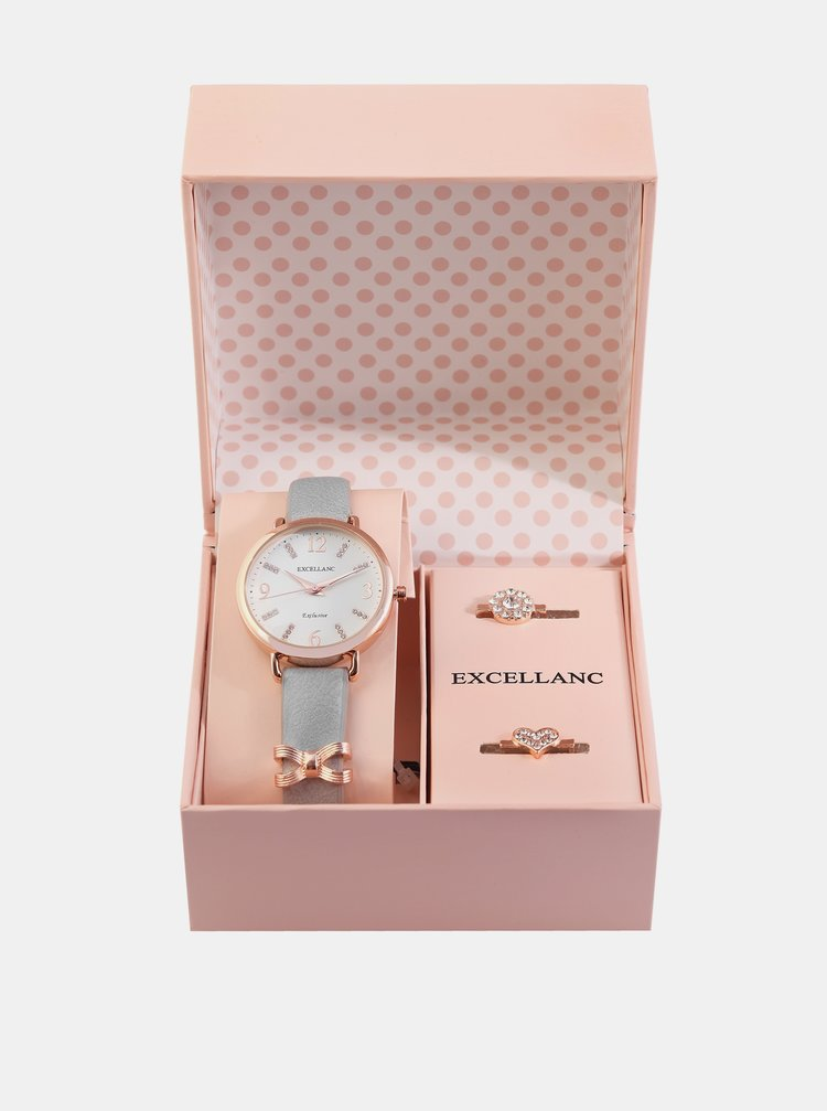 Sada dámských hodinek a dvou prstýnků Excellanc