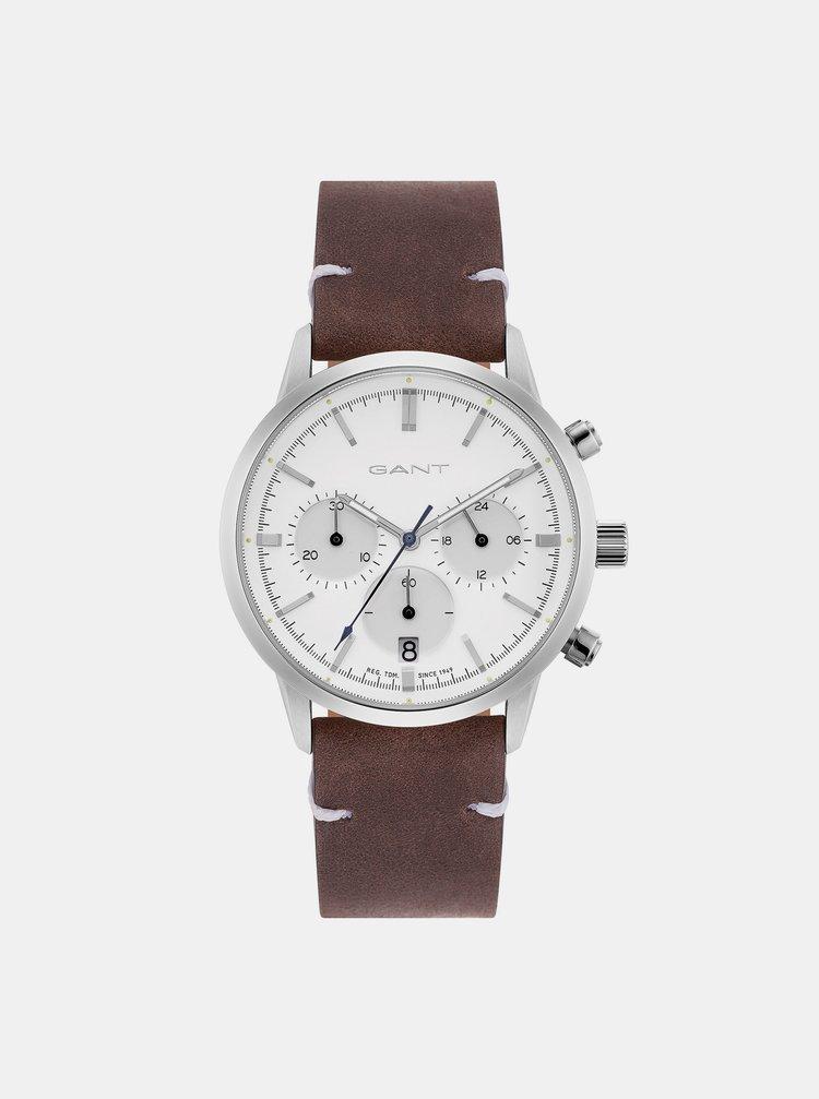 Dámské hodinky s hnědým koženým páskem GANT