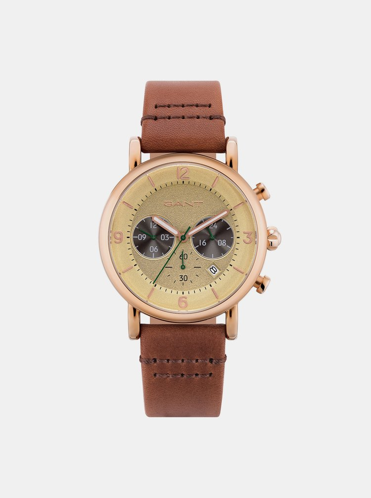 Pánské hodinky s hnědým koženým páskem GANT