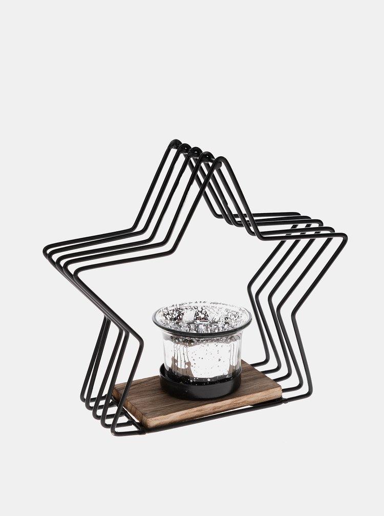 Černý kovový svícen ve tvaru hvězdy Dakls