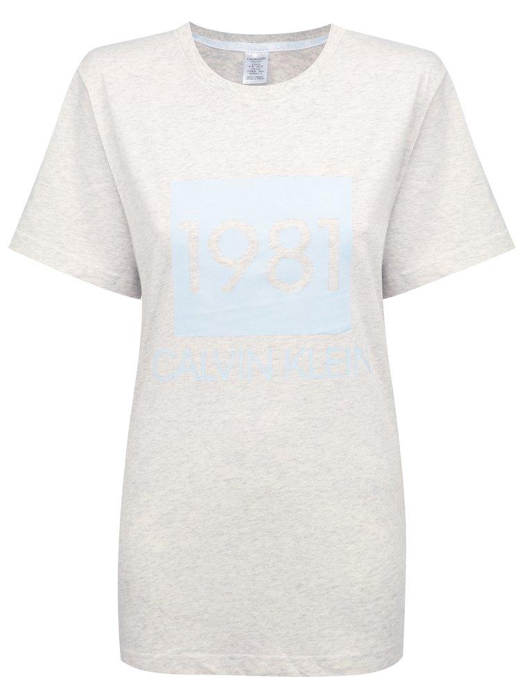 Calvin Klein šedé dámské tričko S/S Crew Neck s logem 1981
