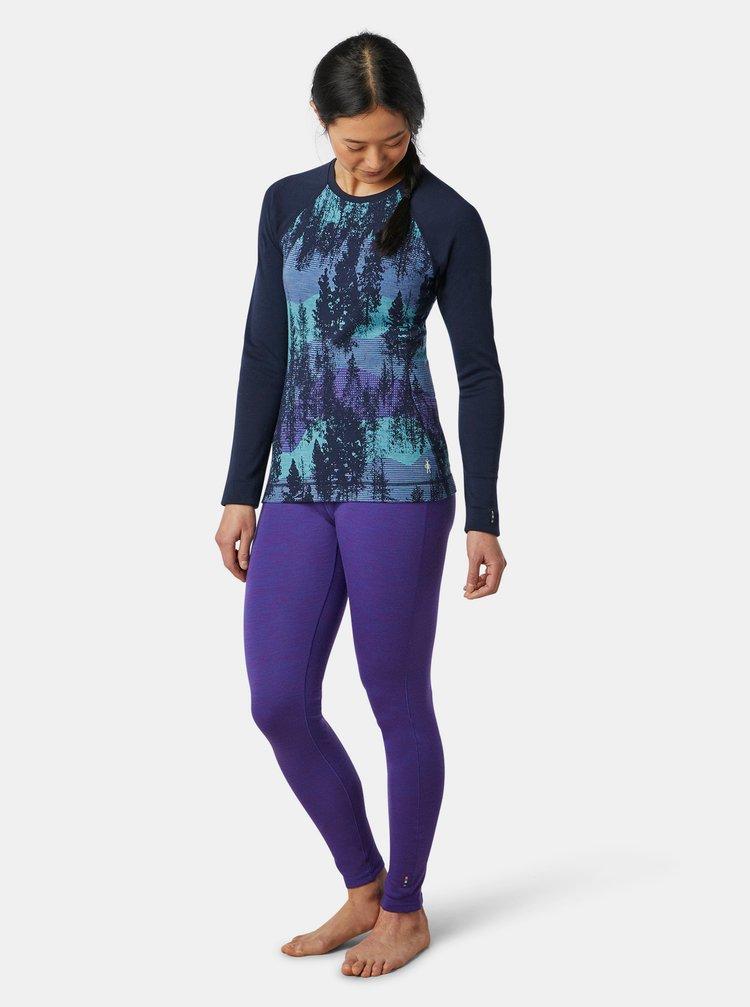 Modré dámské vzorované sportovní tričko Smartwool