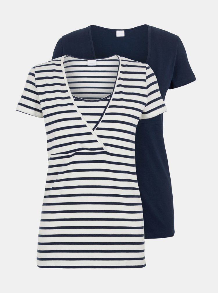 Tricouri pentru femei Mama.licious - albastru inchis, alb