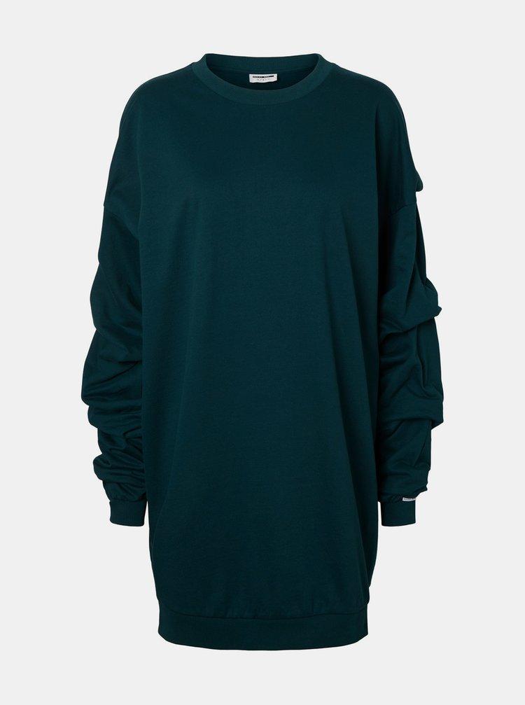 Tmavě zelené mikinové šaty Noisy May Jocke