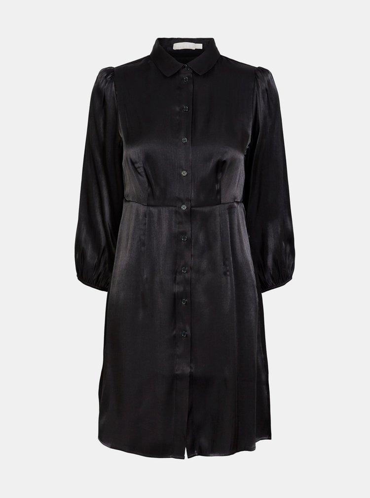 Černé saténové košilové šaty Pieces