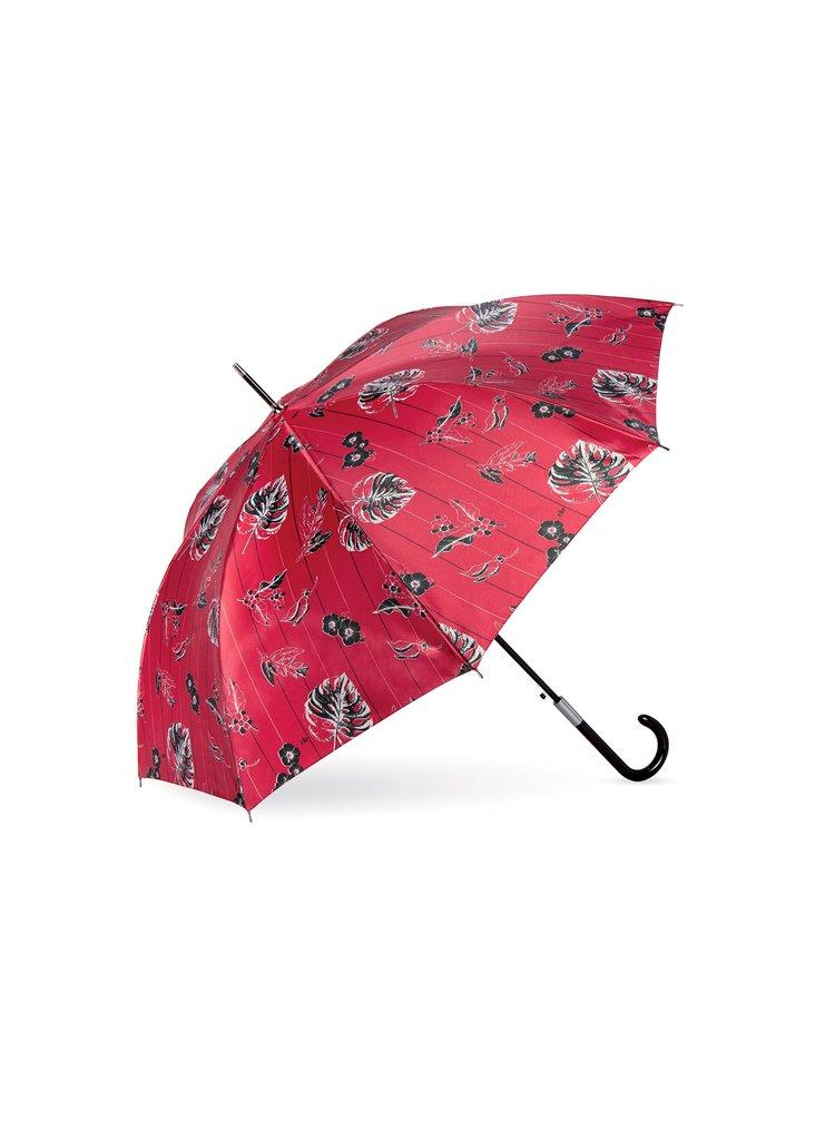 Cachemir Leaf Satin dámský luxusní holový deštník - Červená
