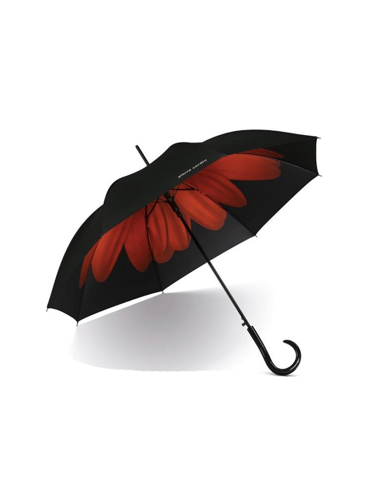 Pierre Cardin Flower Red dámský holový deštník s velkou květinou - Černá