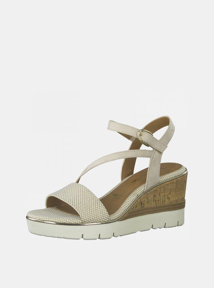 Béžové sandálky na klínku Tamaris
