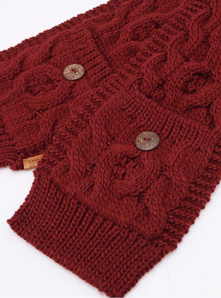Vínový pletený šál s gombíkmi ONLY Tilde
