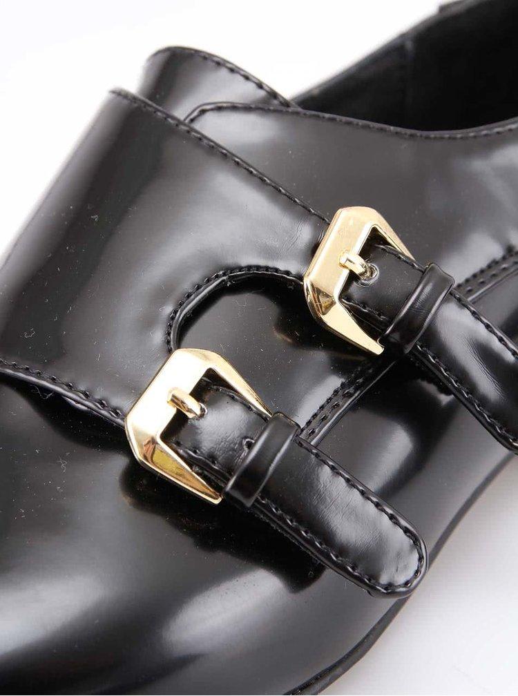 Černé lesklé dámské polobotky s přezkami ALDO Grandora