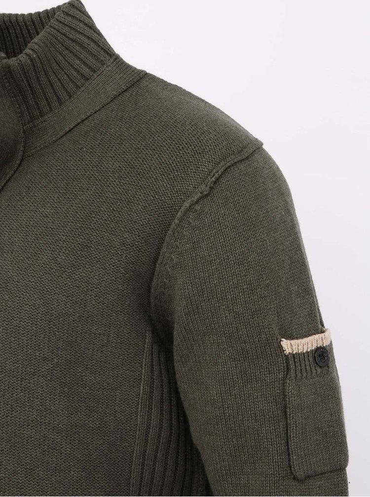 Tmavozelený bavlnený sveter so zipsom a gombíkmi Dstrezzed