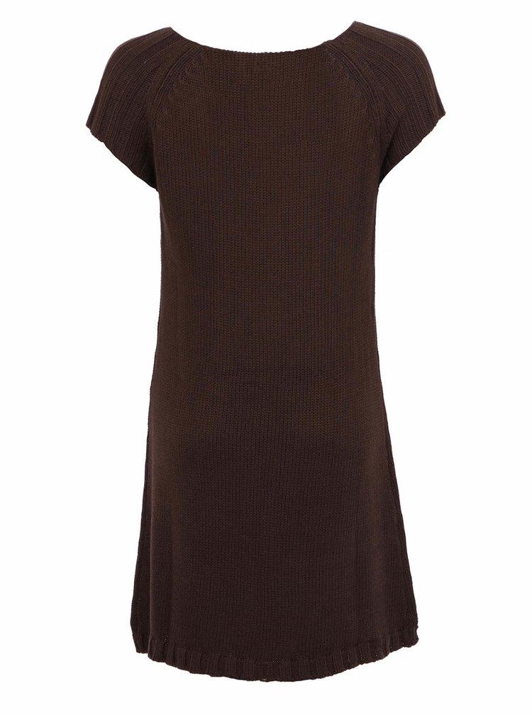 Hnedé úpletové šaty VERO MODA Debra