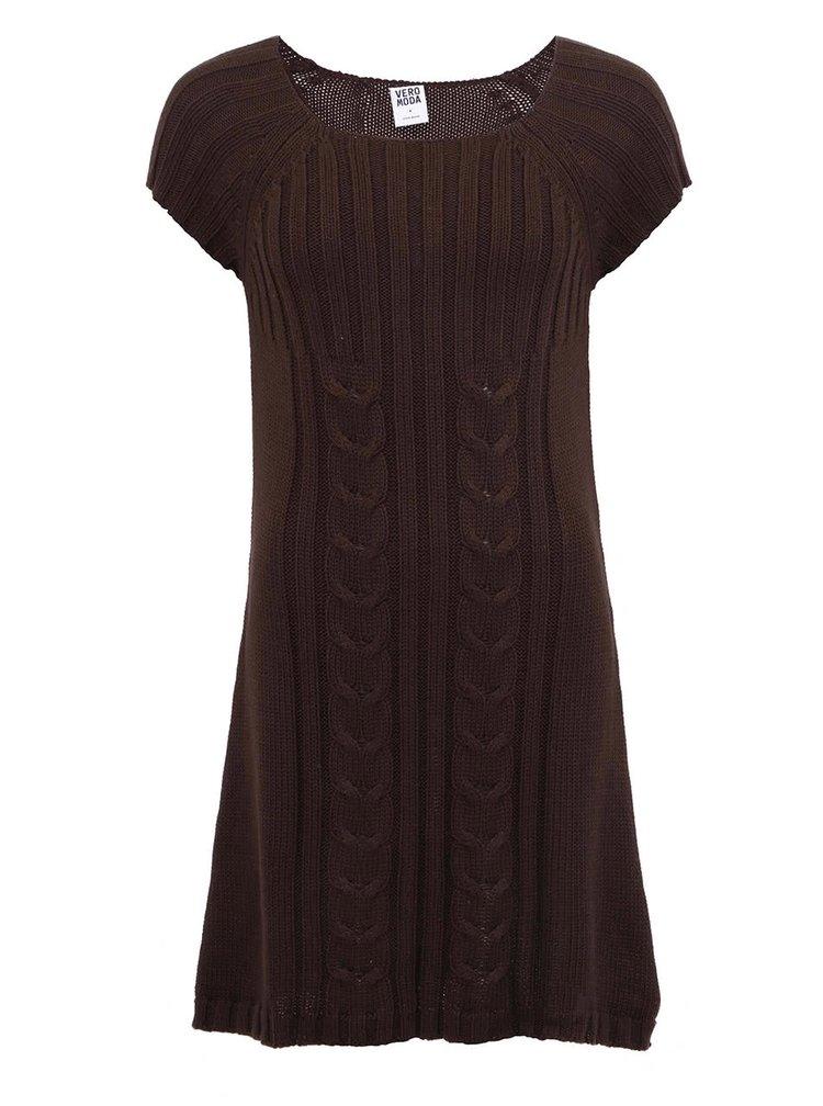 Hnědé úpletové šaty VERO MODA Debra