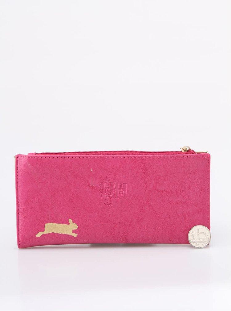 Portofel pliabil Disaster roz cu iepuraș