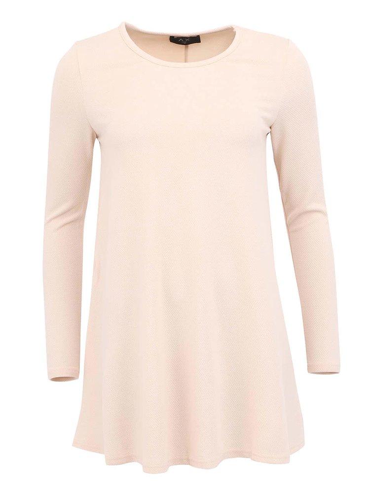 Pudrově růžové volné šaty s dlouhým rukávem AX Paris