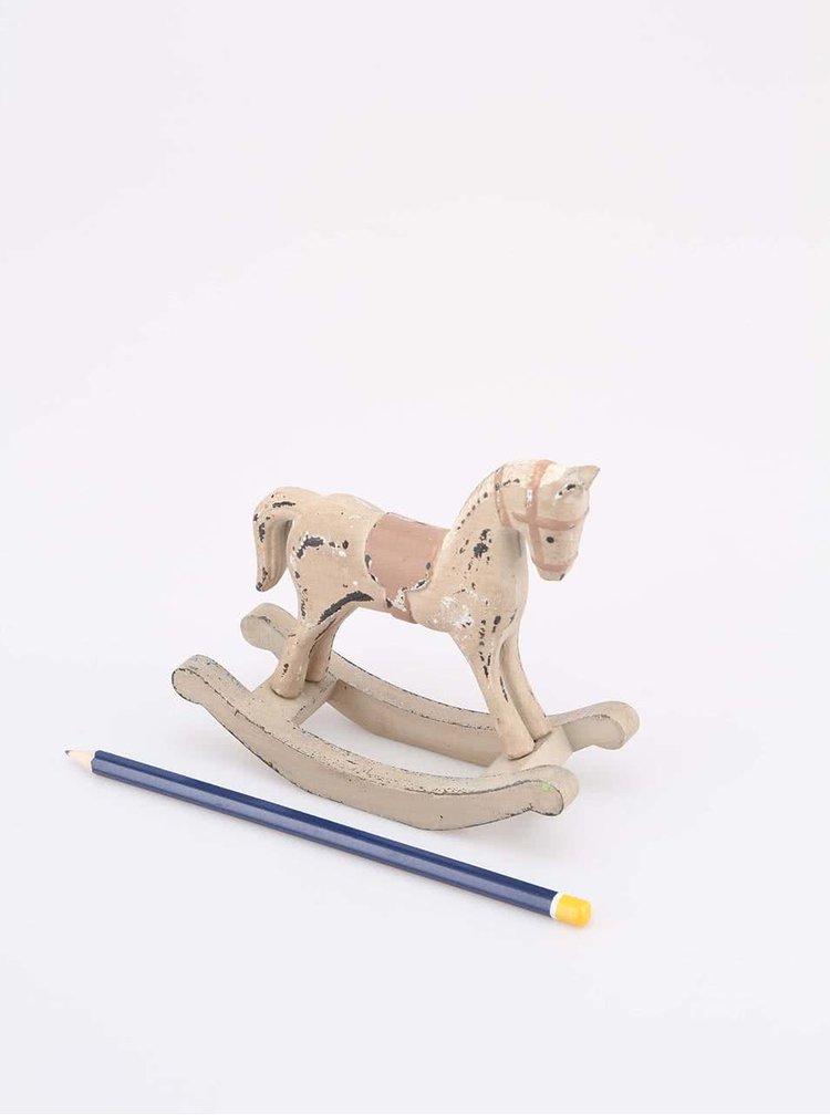 Hnedý drevený vintage hojdací koník Dakls