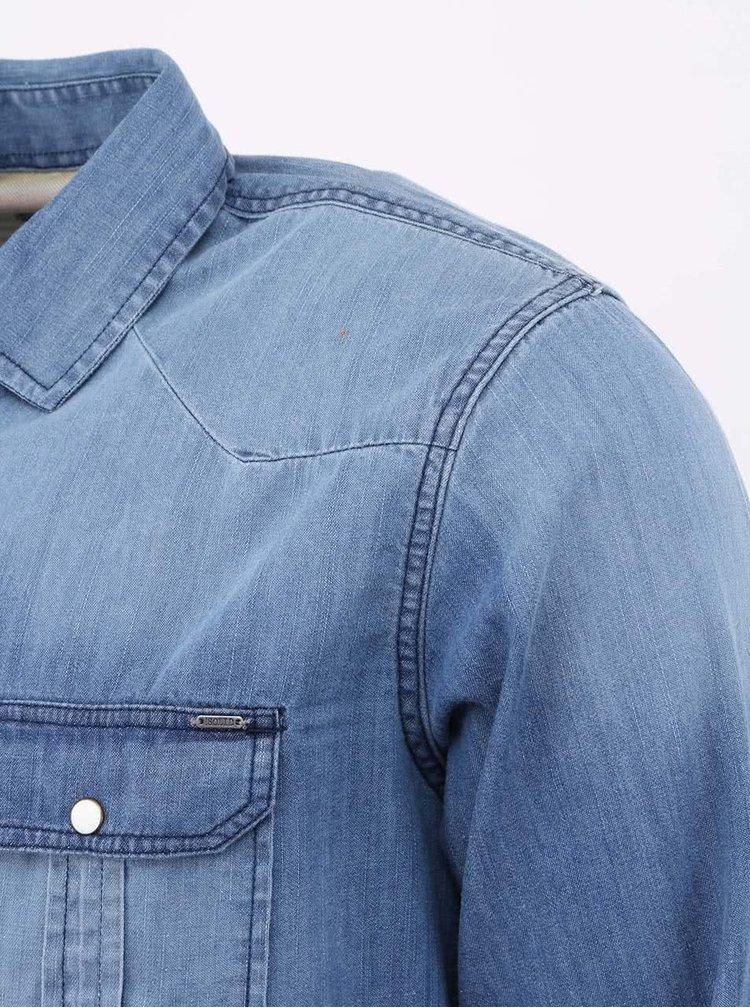 Modrá rifľová košeľa !Solid Kegan