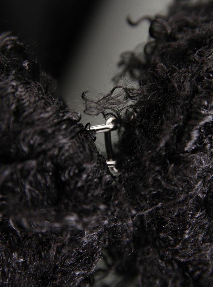 Blazer negru din blană artificială Only Saga