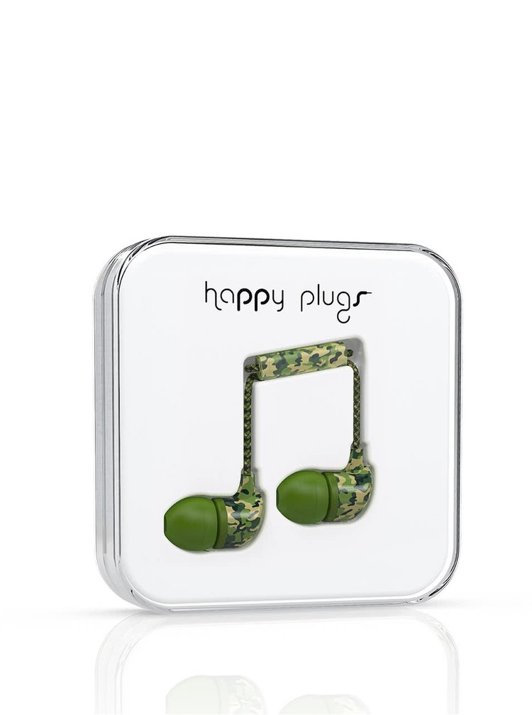 Căști In-Ear Happy Plugs verde camouflage