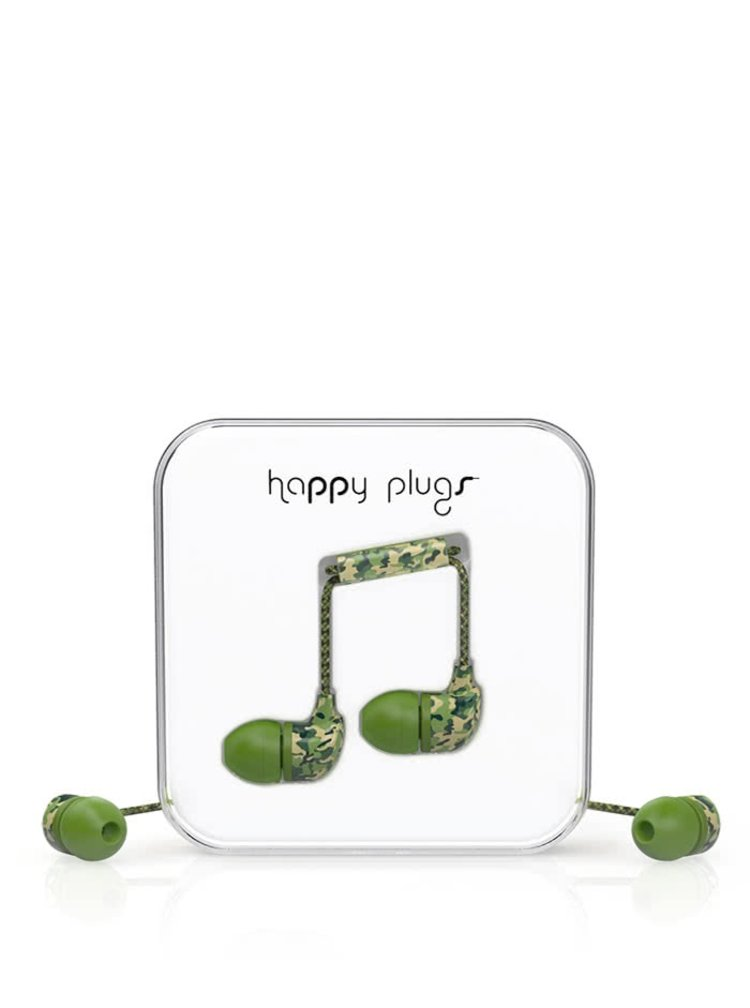 Casti In-Ear Happy Plugs verde camouflage
