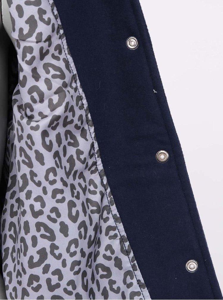 Modrá dámská bunda s koženými rukávy Franklin & Marshall