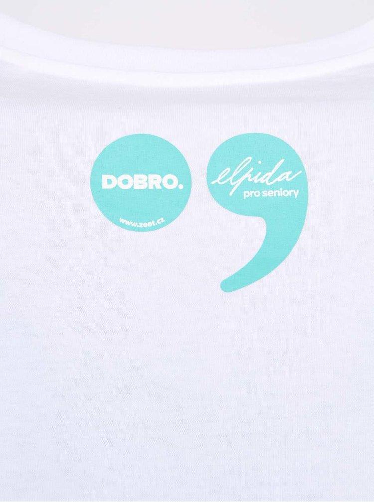 """Dobré"" biele pánske tričko s grafikou Old's Cool Elpida"