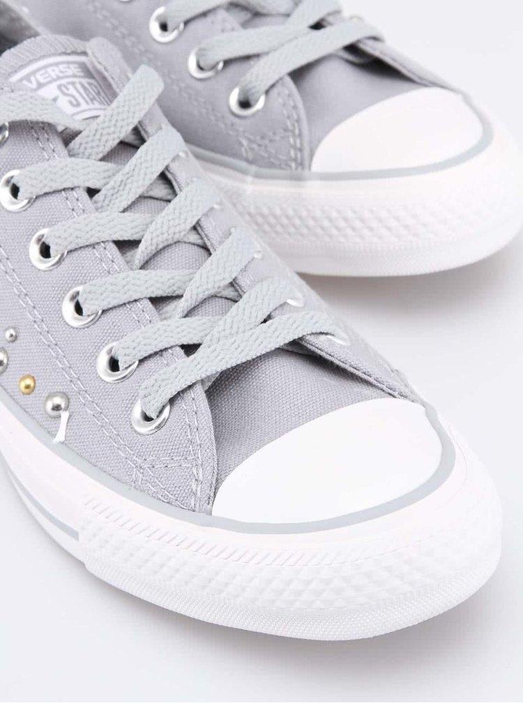 Šedé dámské nízké tenisky s lesklými korálky Converse Chuck Taylor All Star