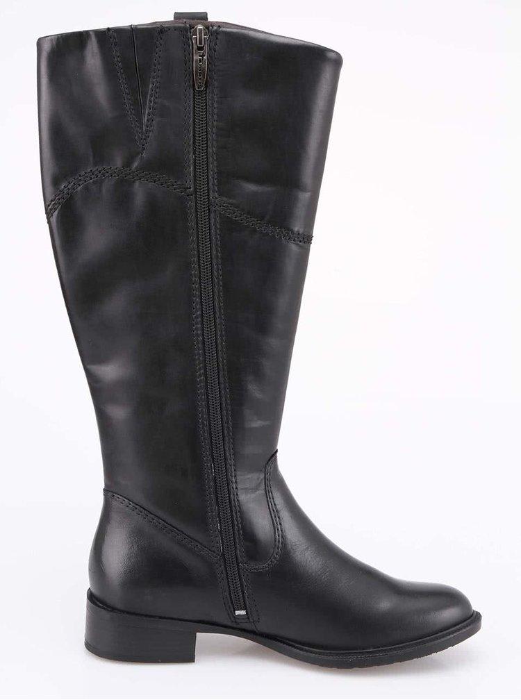 Čierne kožené čižmy s širším obvodom lýtka Tamaris