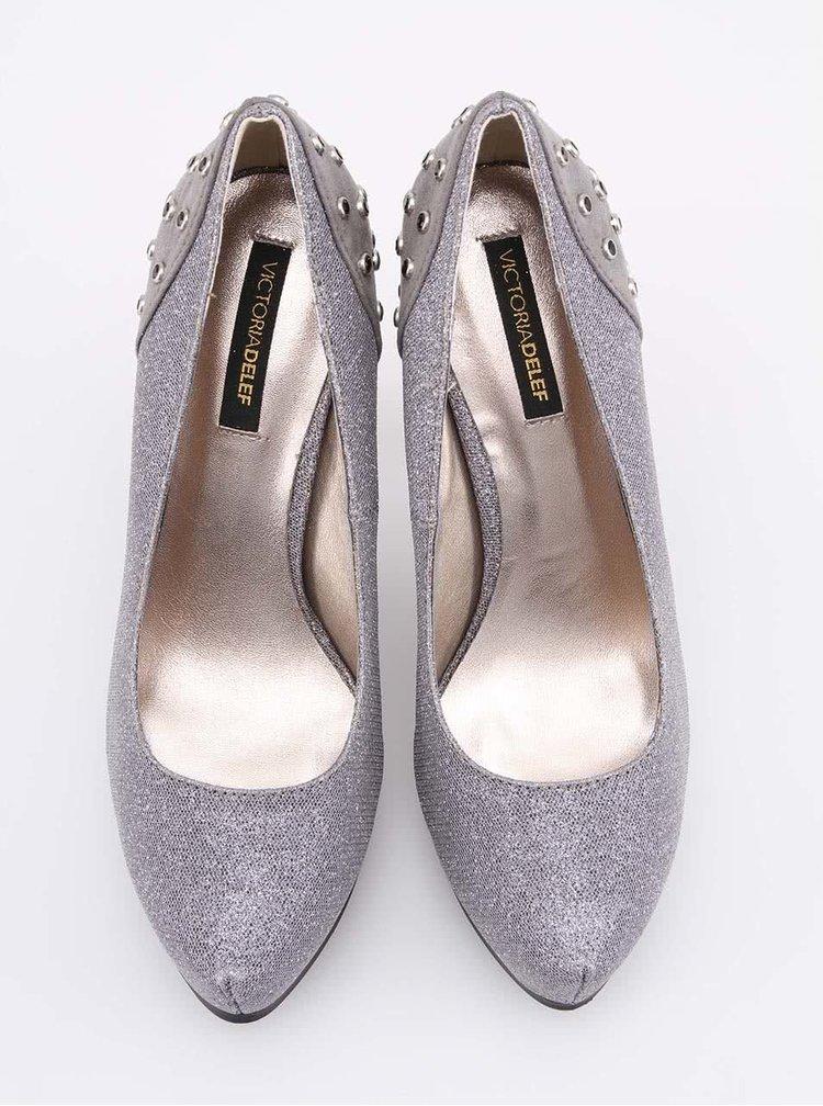 Pantofi gri cu aplicatii din pietre decorative de la Victoria Delef