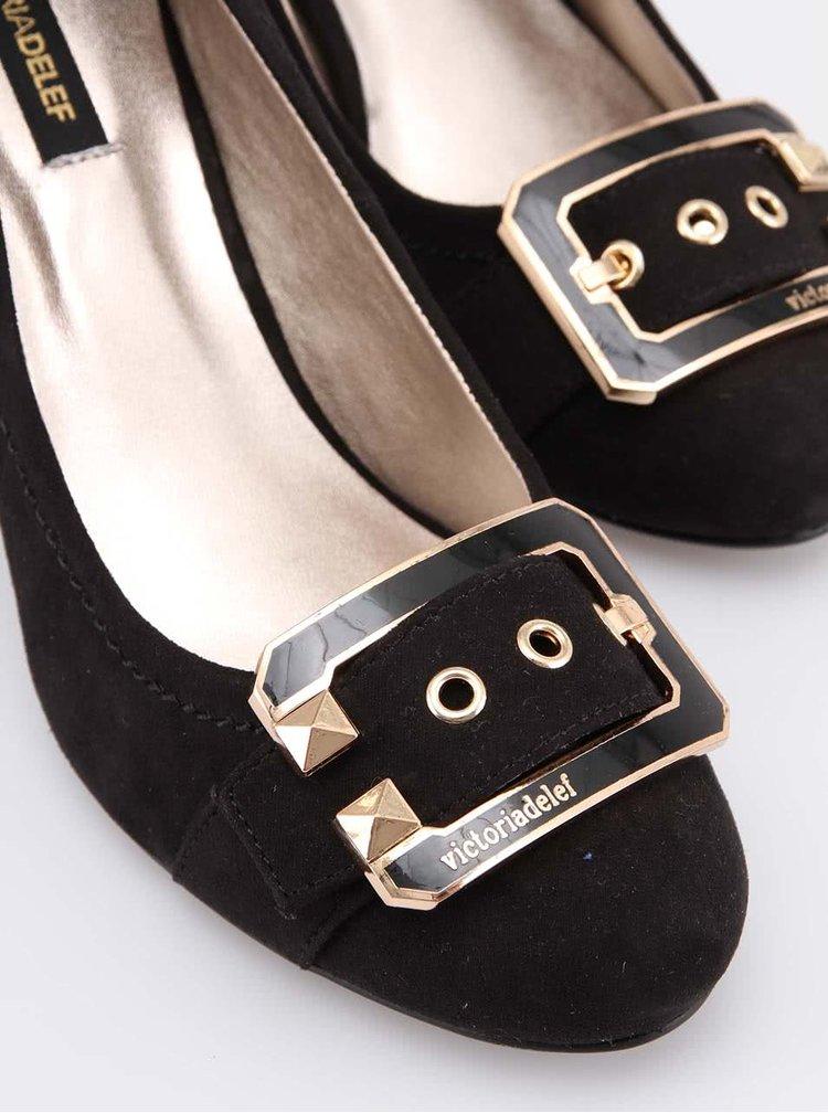 Čierne dámske lodičky s ozdobnou sponou Victoria Delef