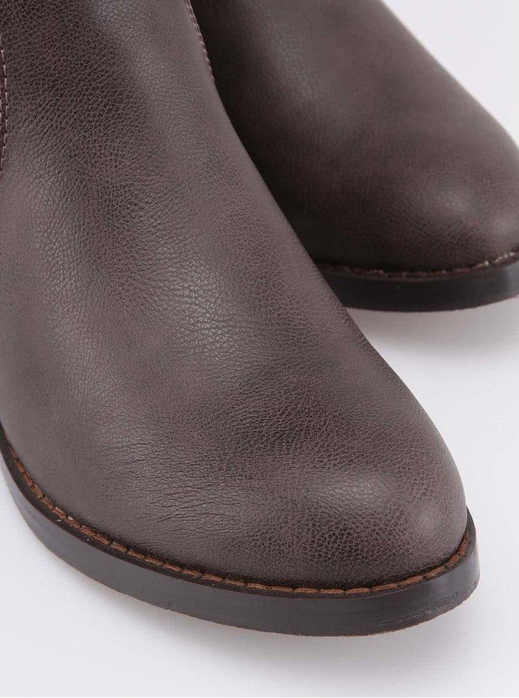 Hnedé čižmy s gumovým vkladom Victoria Delef