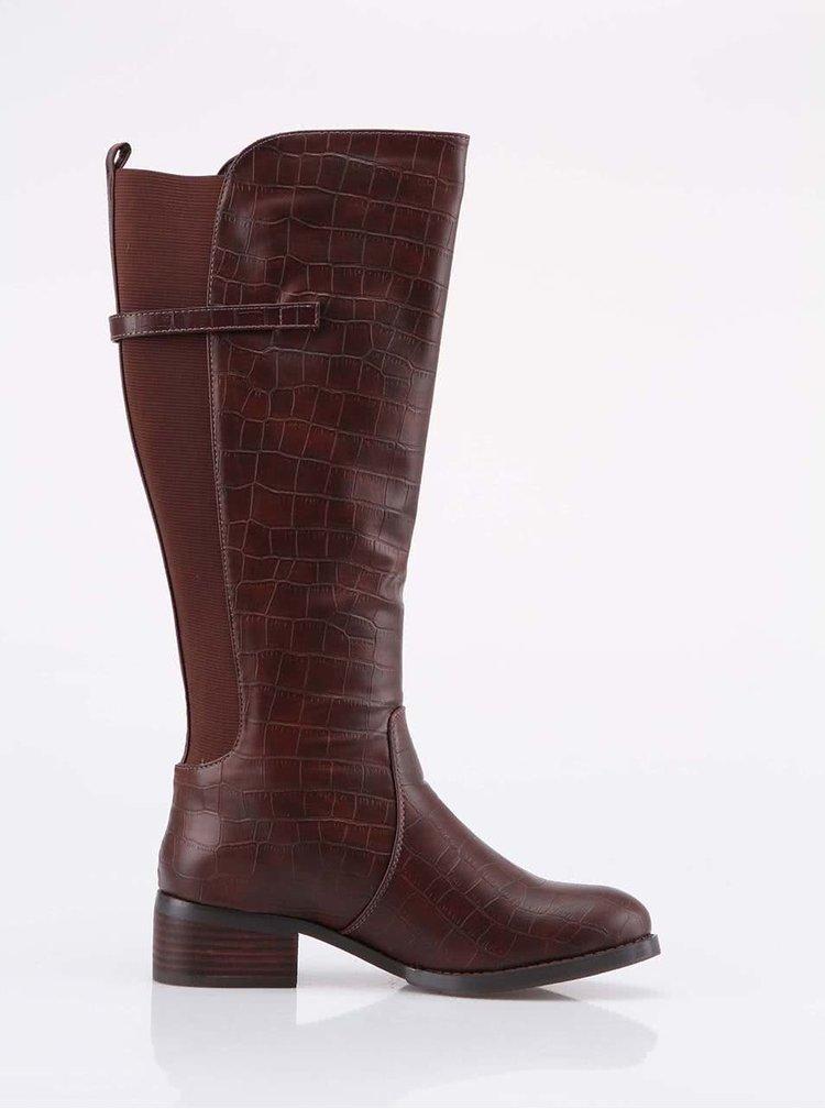 Hnedé čižmy s krokodílim vzorom Victoria Delef