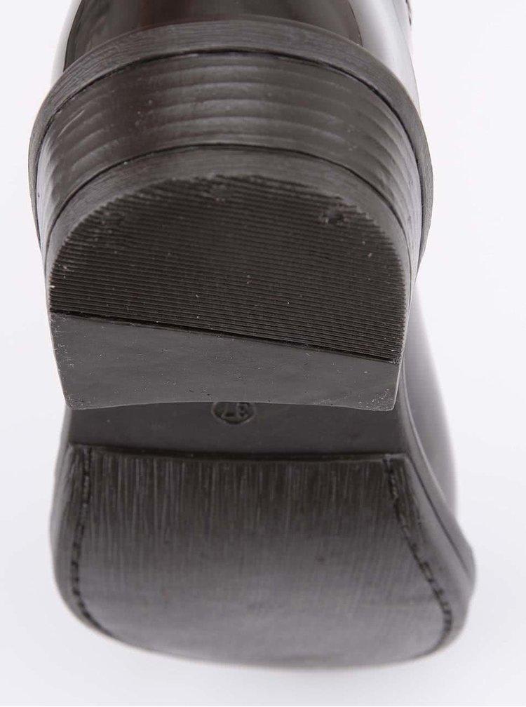 Tmavohnedé gumákové čižmy s kožúškom Xti