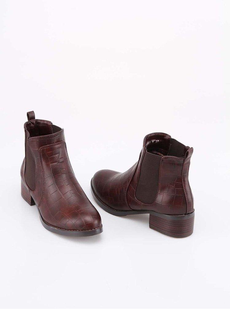 Hnedé členkové topánky s krokodílím vzorom Victoria Delef