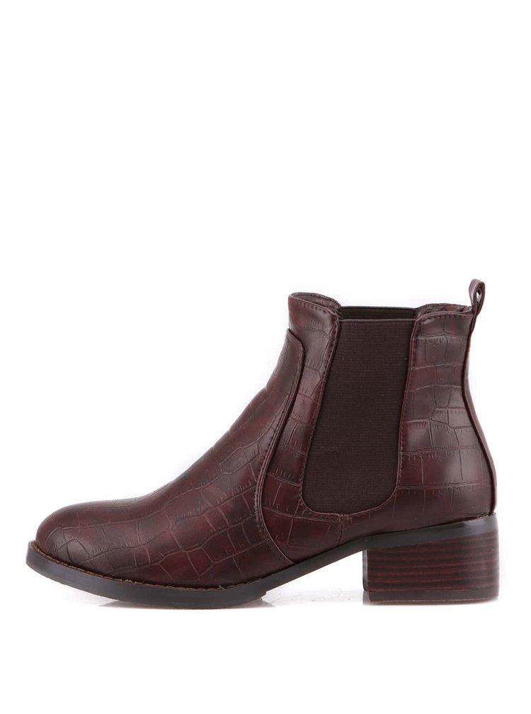Hnědé kotníčkové boty s krokodýlím vzorem Victoria Delef