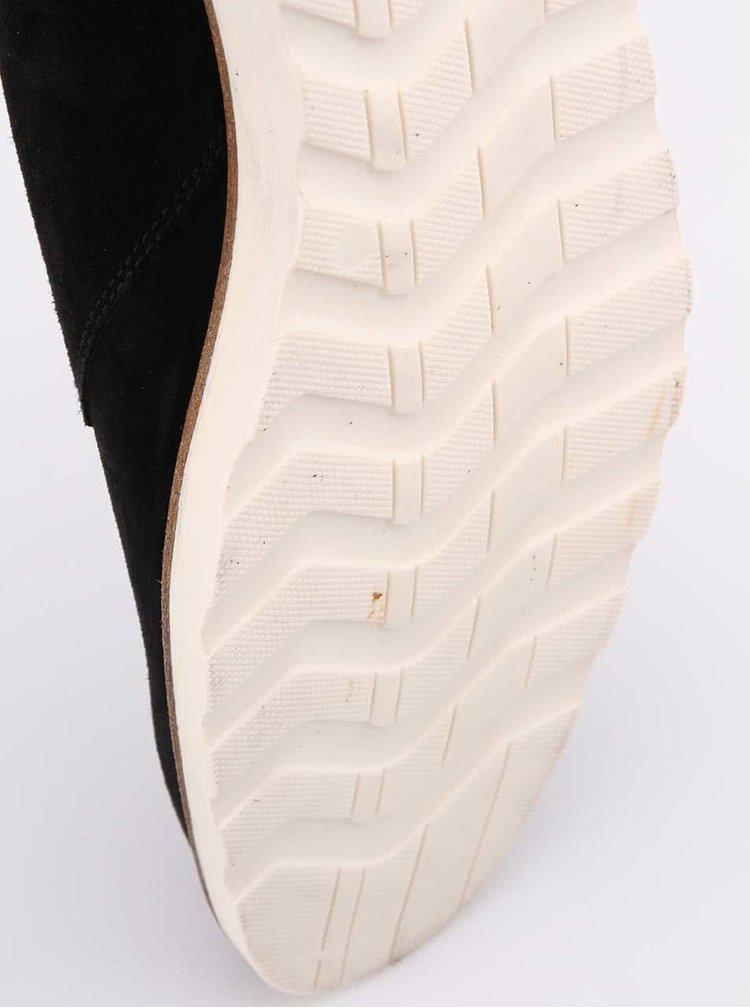 Čierne pánske kožené členkové topánky Faguo Poplar