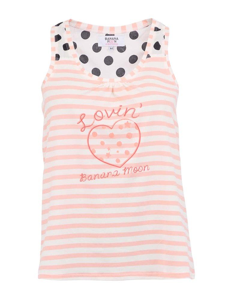 Maiou de pijama roz cu alb Banana Moon