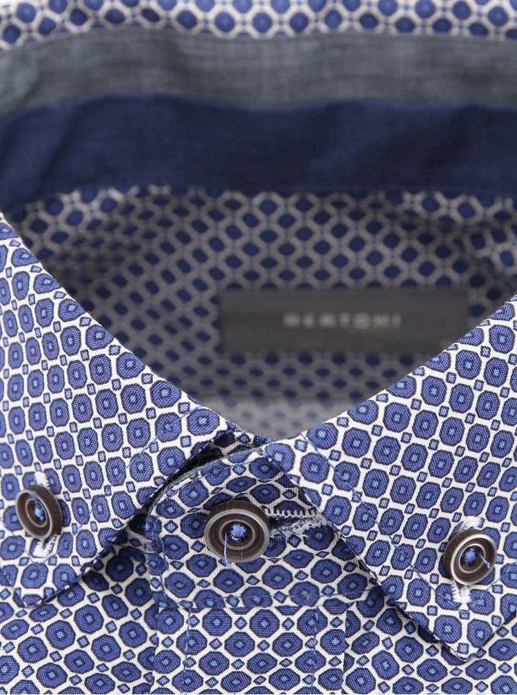 Camasa Bertoni Slim Fit albastra cu imprimeu