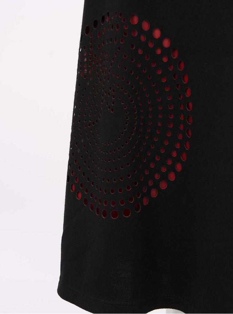 Rochie neagra Nuria cu partea de sus transparenta de la Desigual