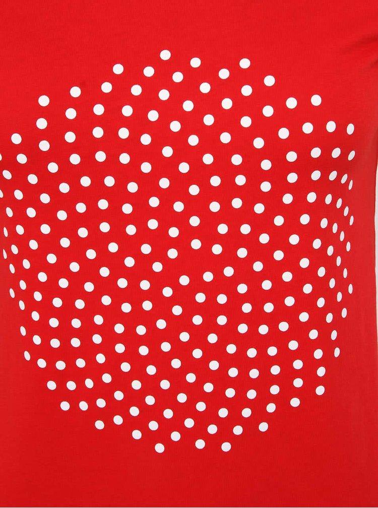 Červené dámske tričko s bielymi bodkami ZOOT Originál